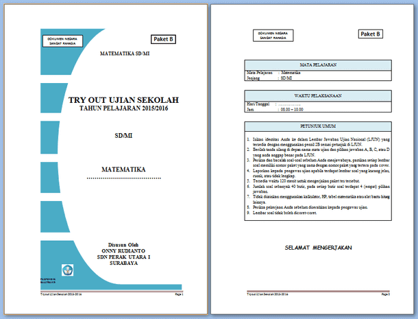 Try Out Ujian Sekolah SD MI Soal Matematika Format Microsoft Word