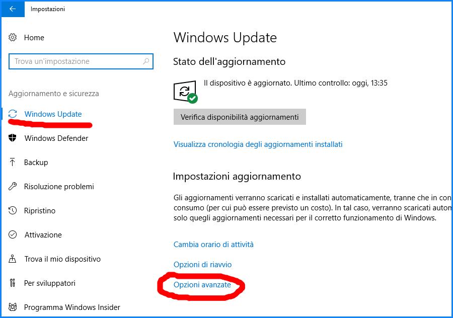 Impostazioni degli aggiornamenti di Windows Update