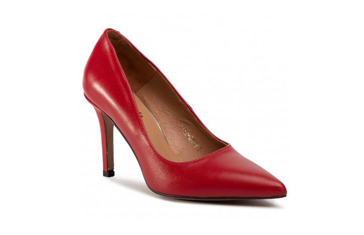 Pantofi dama de zi si birou din piele naturala rosii cu toc subțire R.POLAŃSKI