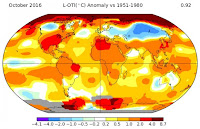 How temperatures across the planet varied from normal during October 2016. (Credit: NASA) Click to Enlarge.