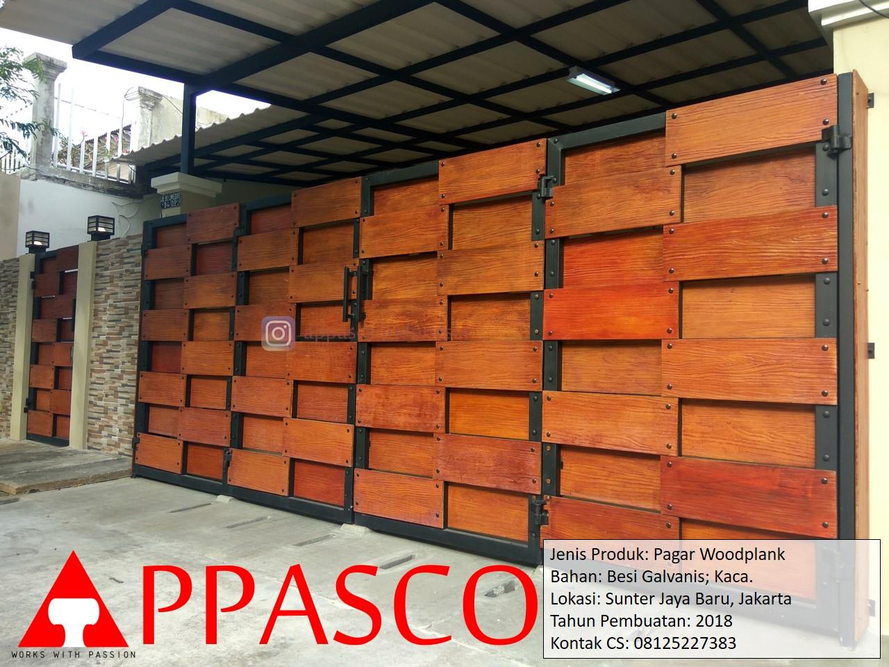Pagar Minimalis Woodplank Kaca Motif Kayu GRC di Sunter Jakarta