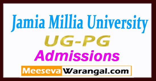 JMI Jamia Millia University Prospectus 2018-19 UG-PG Admissions Last Date