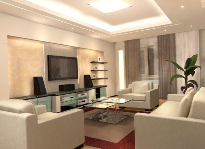 В гостиной можно использовать до пяти оттенков одного цвета