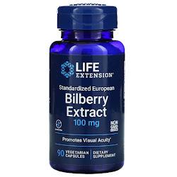 Life Extension, стандартизированный экстракт черники обыкновенной, 100 мг, 90 растительных капсул