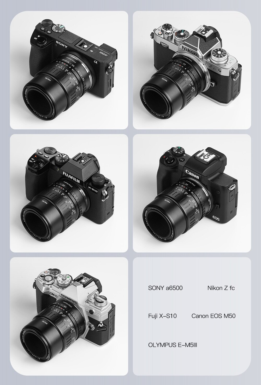 Пять фотоаппаратов с пятью типами креплений для объектива TTArtisan 40mm f/2.8