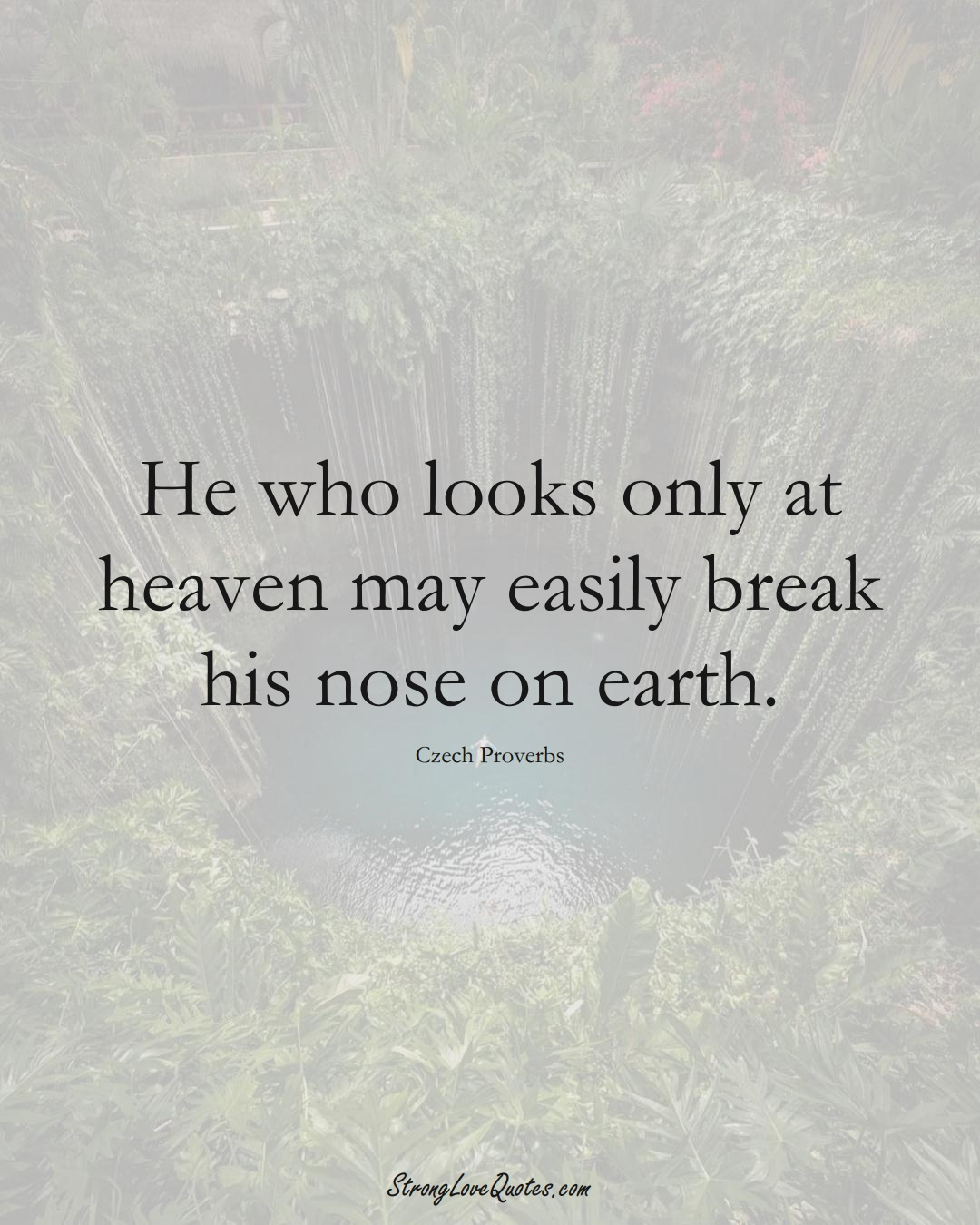 He who looks only at heaven may easily break his nose on earth. (Czech Sayings);  #EuropeanSayings