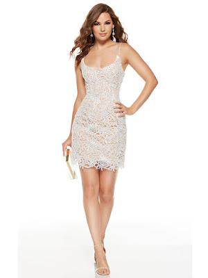Fitted Lace alyce paris Short Graduation Dress Daimond White color
