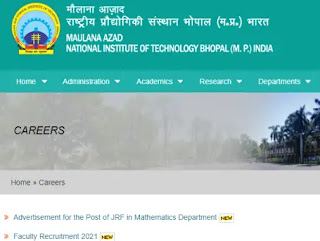 MANIT FACULTY RECRUITMENT 2021 for females ,107 Faculty Vacancies
