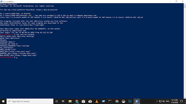 Kali AWS Cloud on Windows CMD
