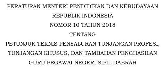 Dowbload Permendikbud No 10 Tahun 2018