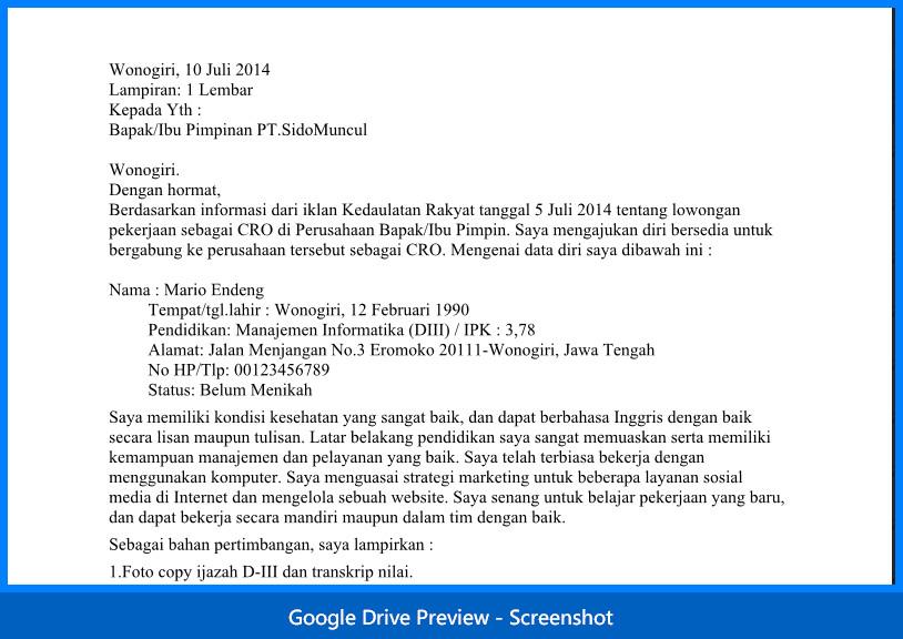 Contoh Surat Lamaran Fresh Graduate Bahasa Indonesia Dan Inggris