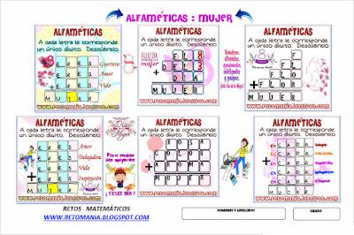 Alfaméticas, Criptoaritmética, Criptosumas, Juego de Letras, Criptogramas, Problemas matemáticos, Desafíos matemáticos, Problemas de ingenio matemático