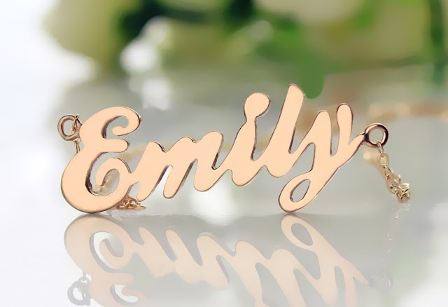 Cursive Script Name Necklace Solid Rose Gold