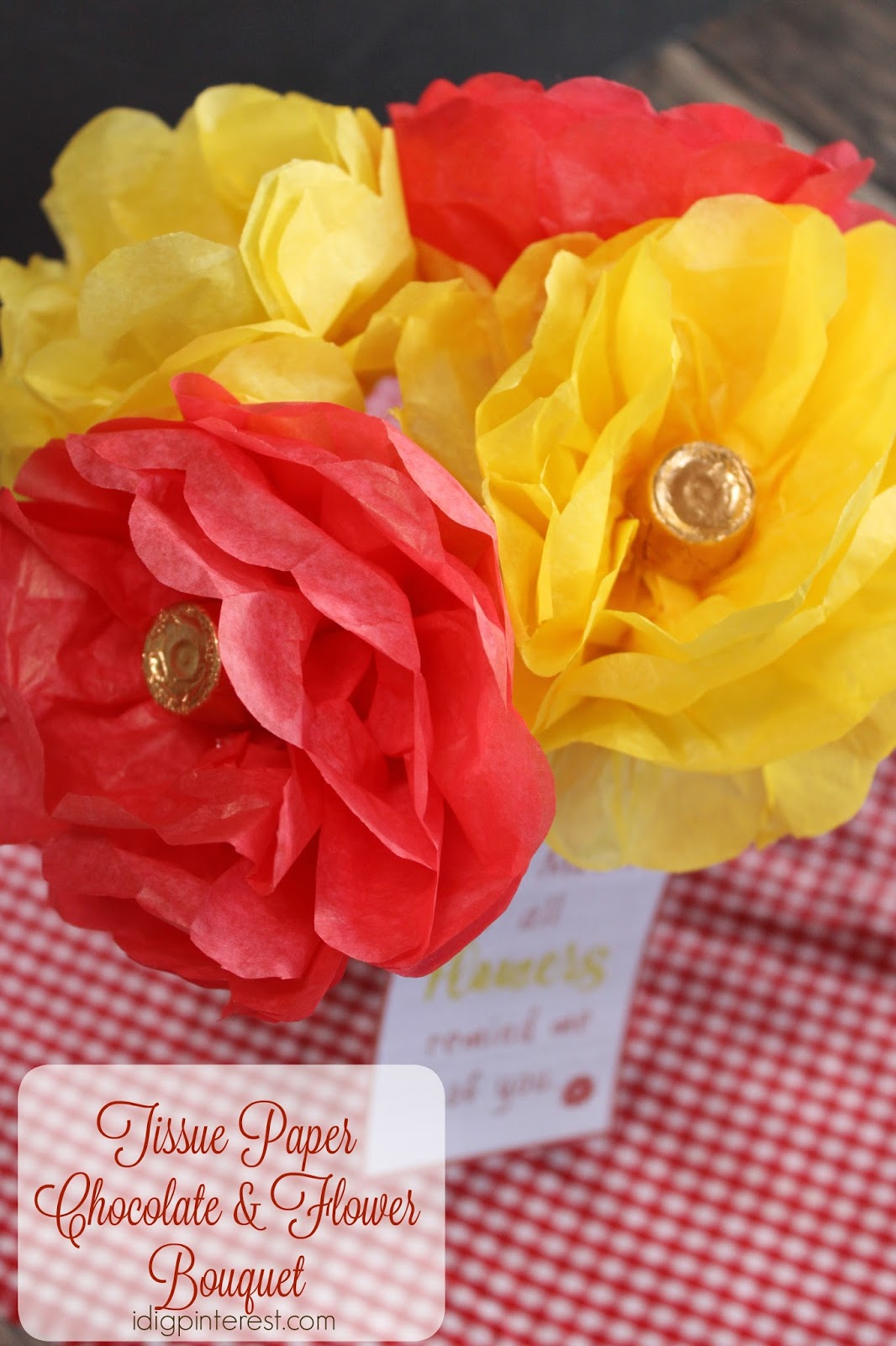 Tissue paper chocolate flower bouquet an easy diy mothers day gift display the flowers in a mason jar or pretty vase izmirmasajfo
