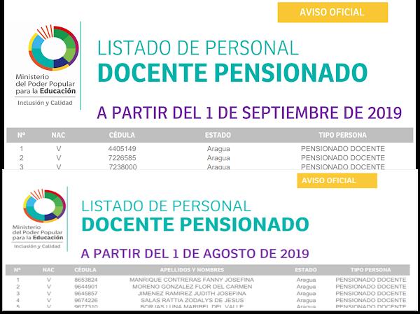 LISTADO DE PERSONAL DOCENTE PENSIONADO A PARTIR DEL 1 DE SEPTIEMBRE Y DEL 1 DE AGOSTO DE 2019