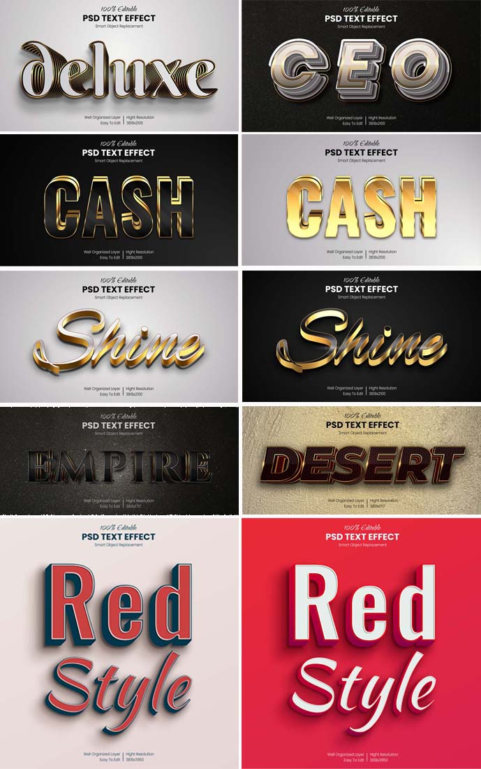 3D Gold Effect Text PSD Mockup Collection