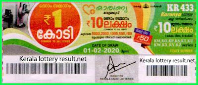 Kerala Lottery Result 01-02-2020 Karunya KR-433 (keralalotteryresult.net)