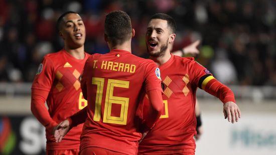 Eden Hazard Belgium Celebrates With Teammates