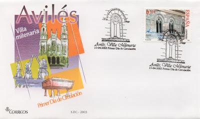 Sobre PDC del sello de Avilés, Villa Milenaria. Matasellos de Avilés