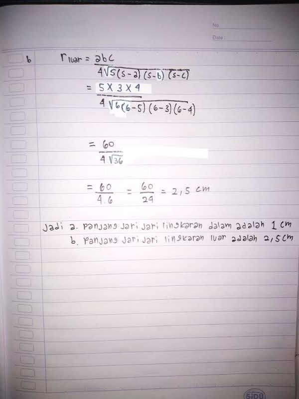 Jawaban matematika kelas 9 Semester 2