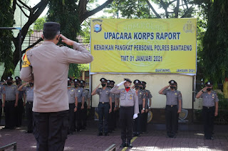 Kapolres Bantaeng Pimpin Upacara Korps Raport, Sebanyak 41 Personel Naik Pangkat