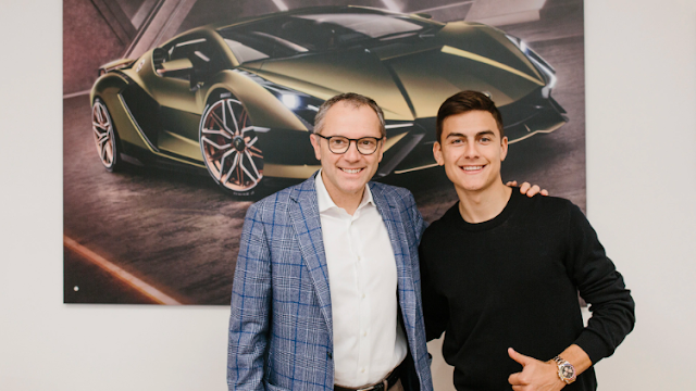 Dybala visits Lamborghini headquarters after the first victory of the year