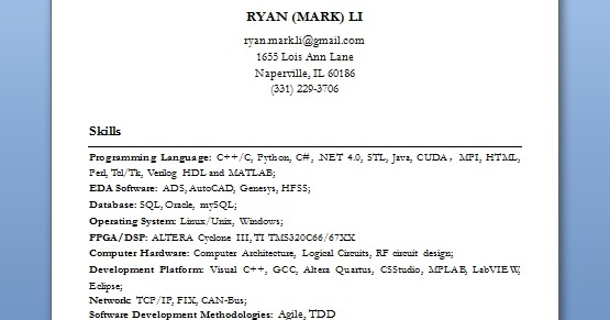 software engineer basic resume format in word free download