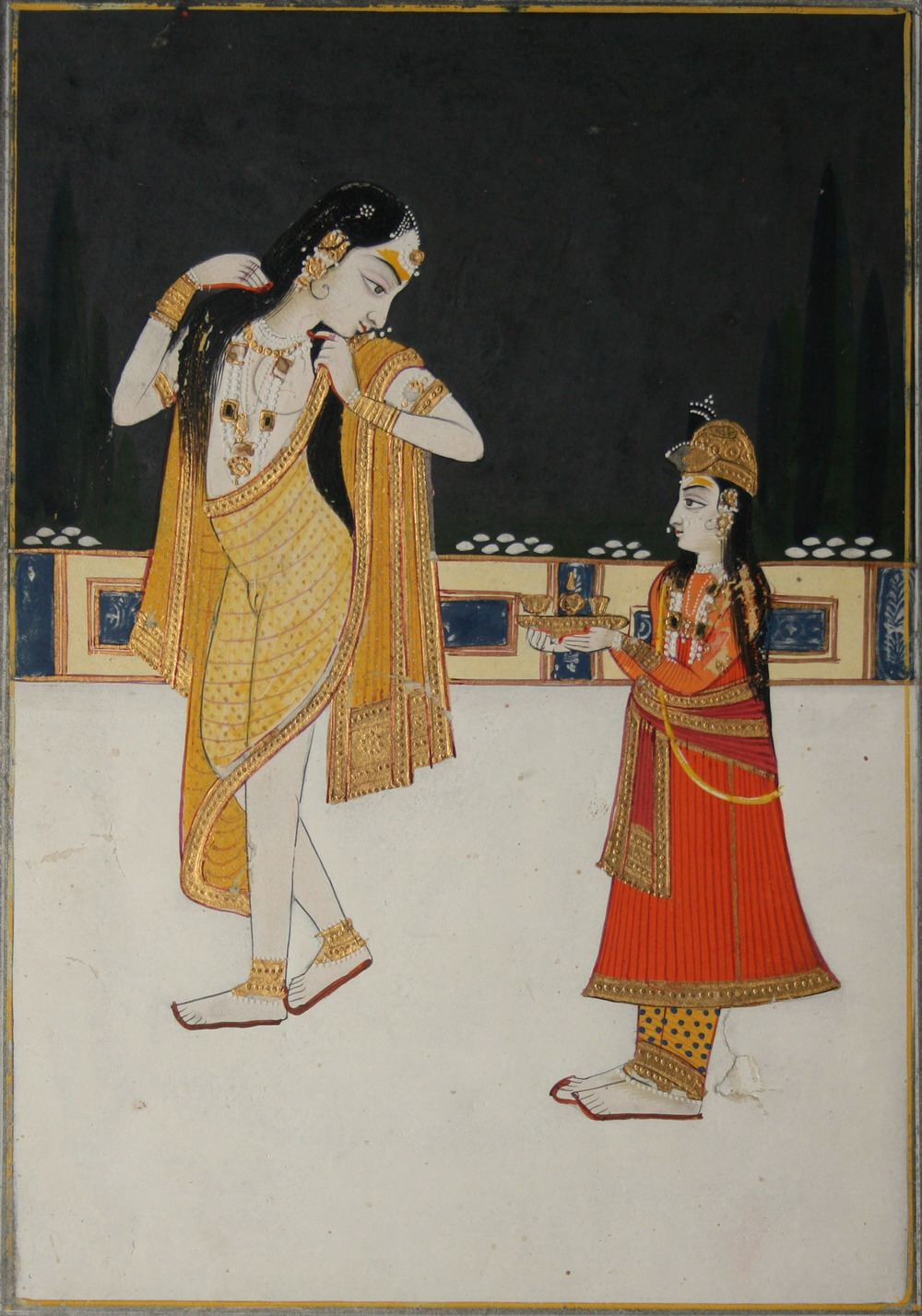 Courtesan on a Palace Terrace at Night, an Attendant Serving Wine - Rajput Painting, Bikaner, Mid 19th Century