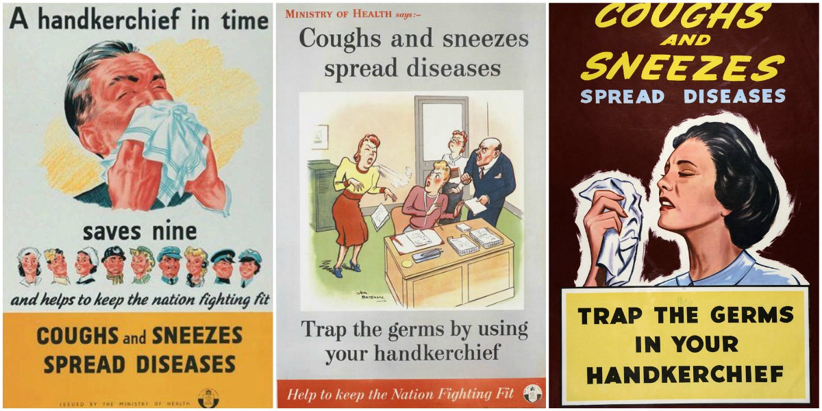 "Stop Germs Spreading: Vintage ""Coughs and Sneezes Spread ..."