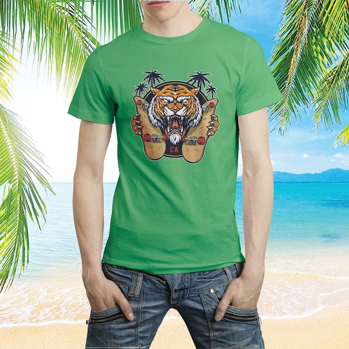 Tiger Print Beach  T shirt Template