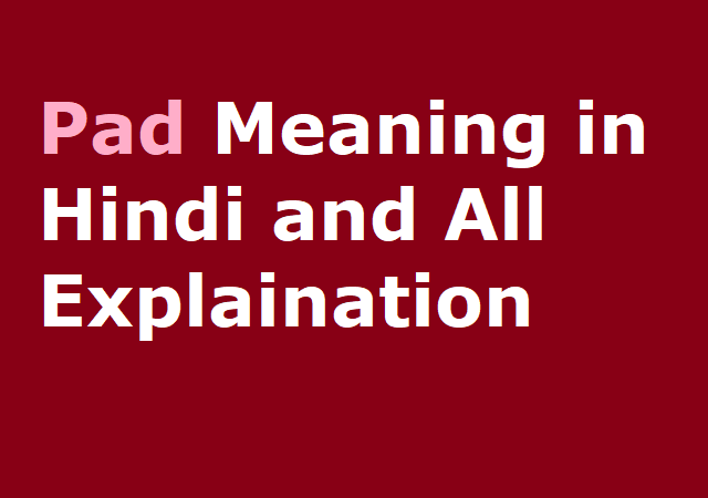 Pad Meaning in Hindi and All Explaination