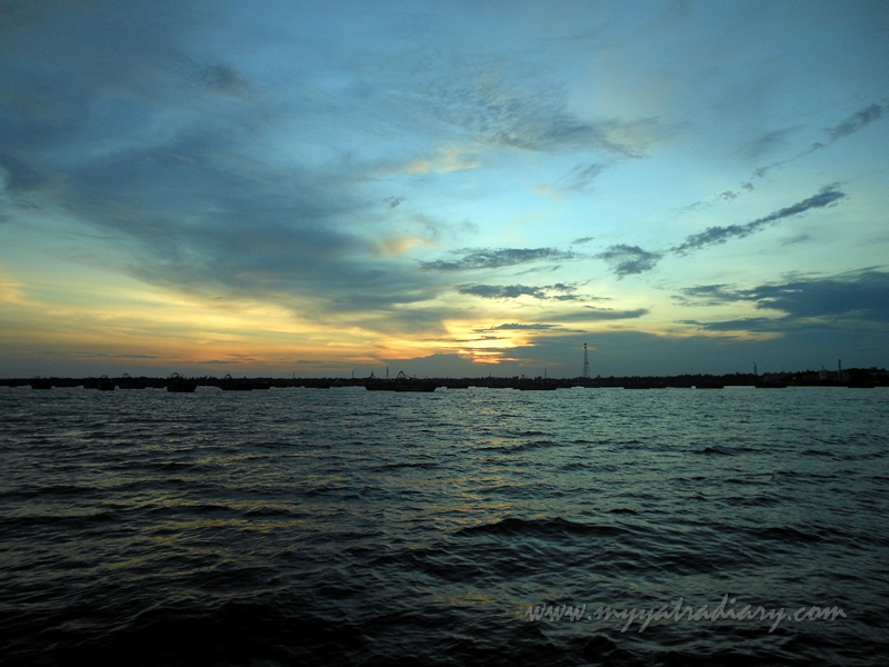 Sky colors during boat ride in Rameswaram, Tamil Nadu
