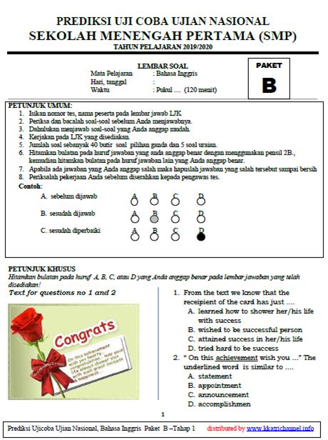 Soal UCUN Bahasa Inggris SMP Paket B