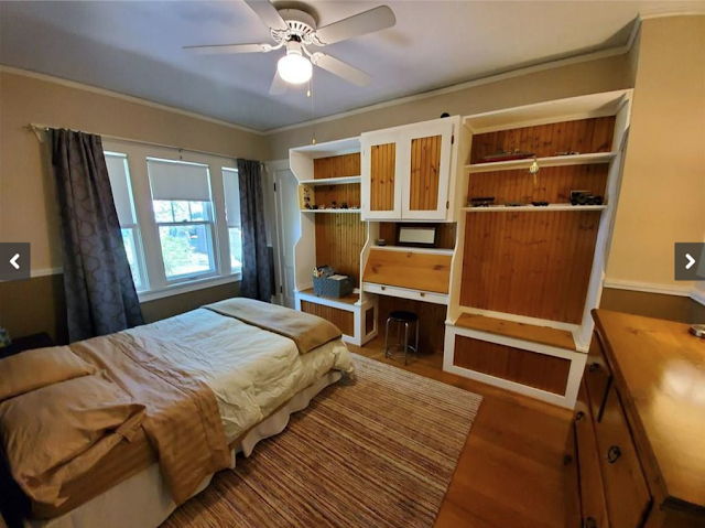 first-floor bedroom in Craftsman-era Sears model, the Ashmore, in Erie, Pennsylvania