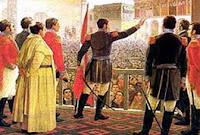 Dibujo de José de San Martín en la Proclamación de la Independencia del Perú