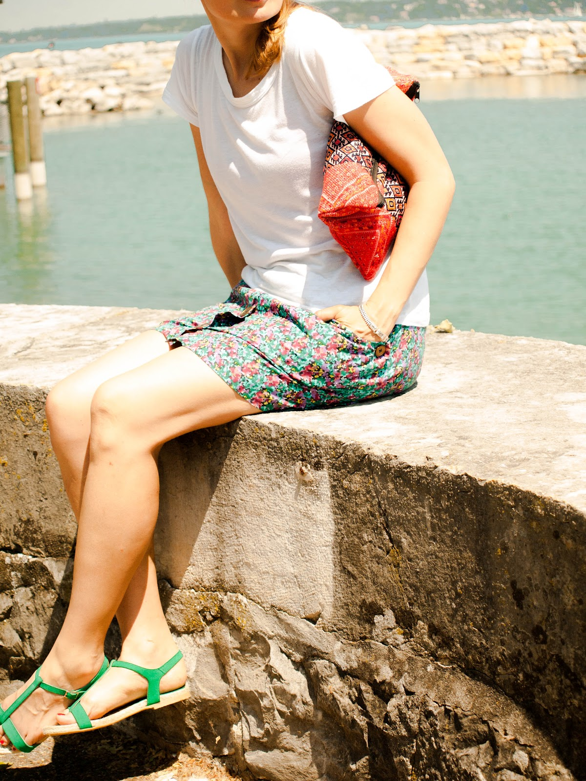 Floral Skirt, Barneys skirt, Green sandals, Max&Co sandals, Lake Geneva