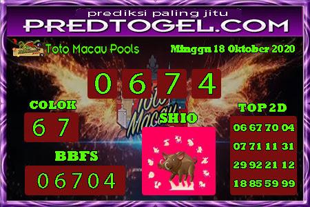 Pred Macau Minggu 18 Oktober 2020