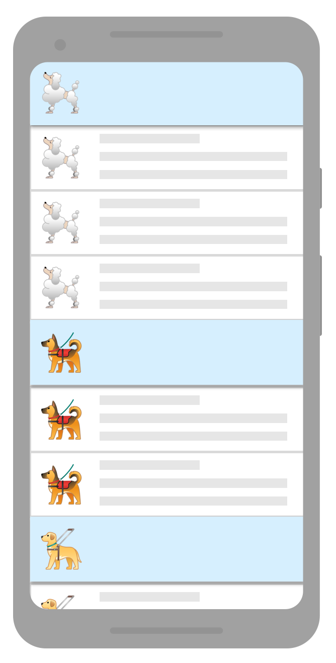 list with separators