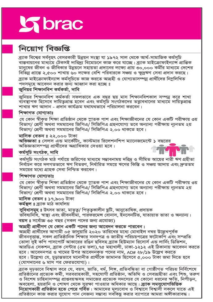 Brack Bank Job Circular 2020 | ব্র্যাকে আবারো ২২ হাজার টাকা বেতনে চাকরির নিয়োগ প্রকাশ