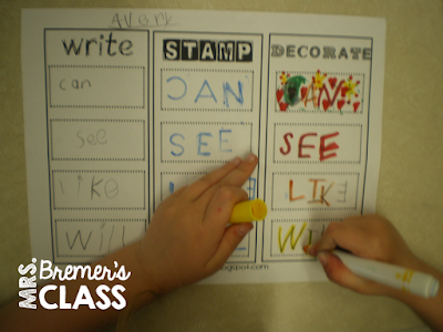 Fun sight word literacy center- write, stamp, and decorate the words!