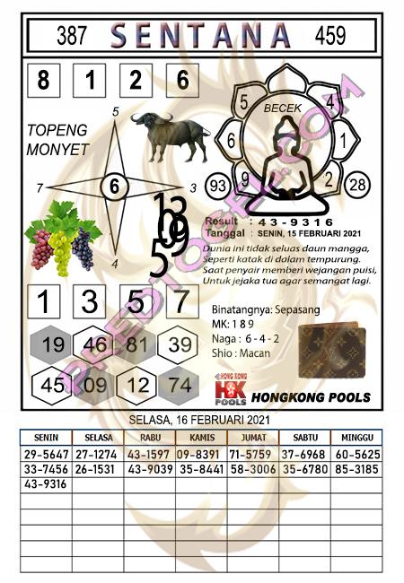 Syair HK Sentana Selasa 16 Februari 2021