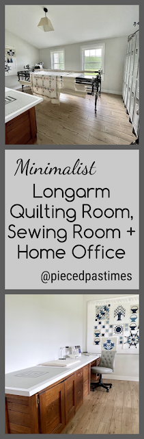 Minimalist Combination Longarm Quilting Room, Sewing Room and Home Office at Pieced Pastimes