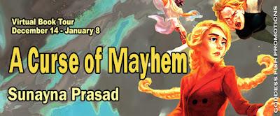 Goddess Fish tour banner for A Curse of Mayhem