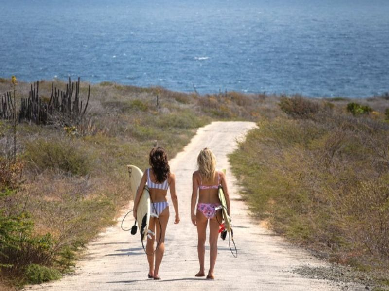 two ladies walking towards the beach with surfboards
