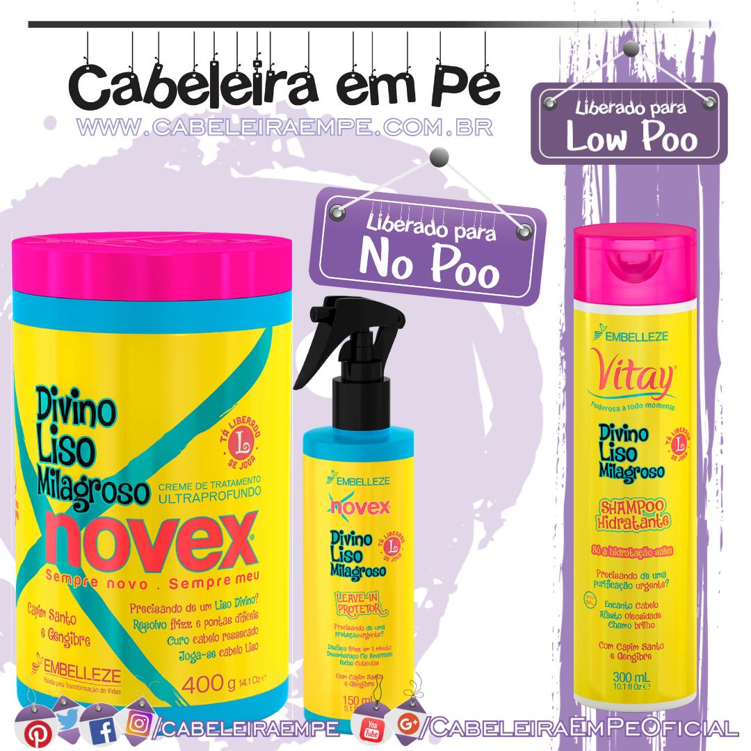 Shampoo (Low Poo), Máscara e Leave in (No Poo) Divino Liso Milagroso - Vitay e Novex
