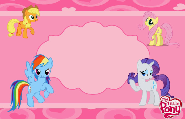 My Little Pony Free Printable Invitations, Cards, Photo Frames or Labels.