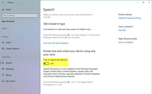 Nonaktifkan pengenal suara di Windows 10