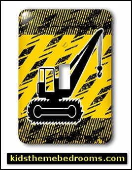 Big Crane Truck in Black and Yellow - Light Switch Covers construction bedroom decor