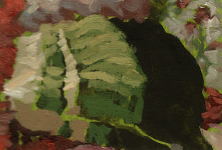 Green toned ground impressionist still life painting