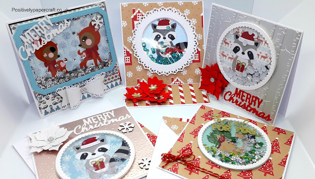 Christmas shaker cards, Raccoon shaker cards, Cute animal shaker cards,